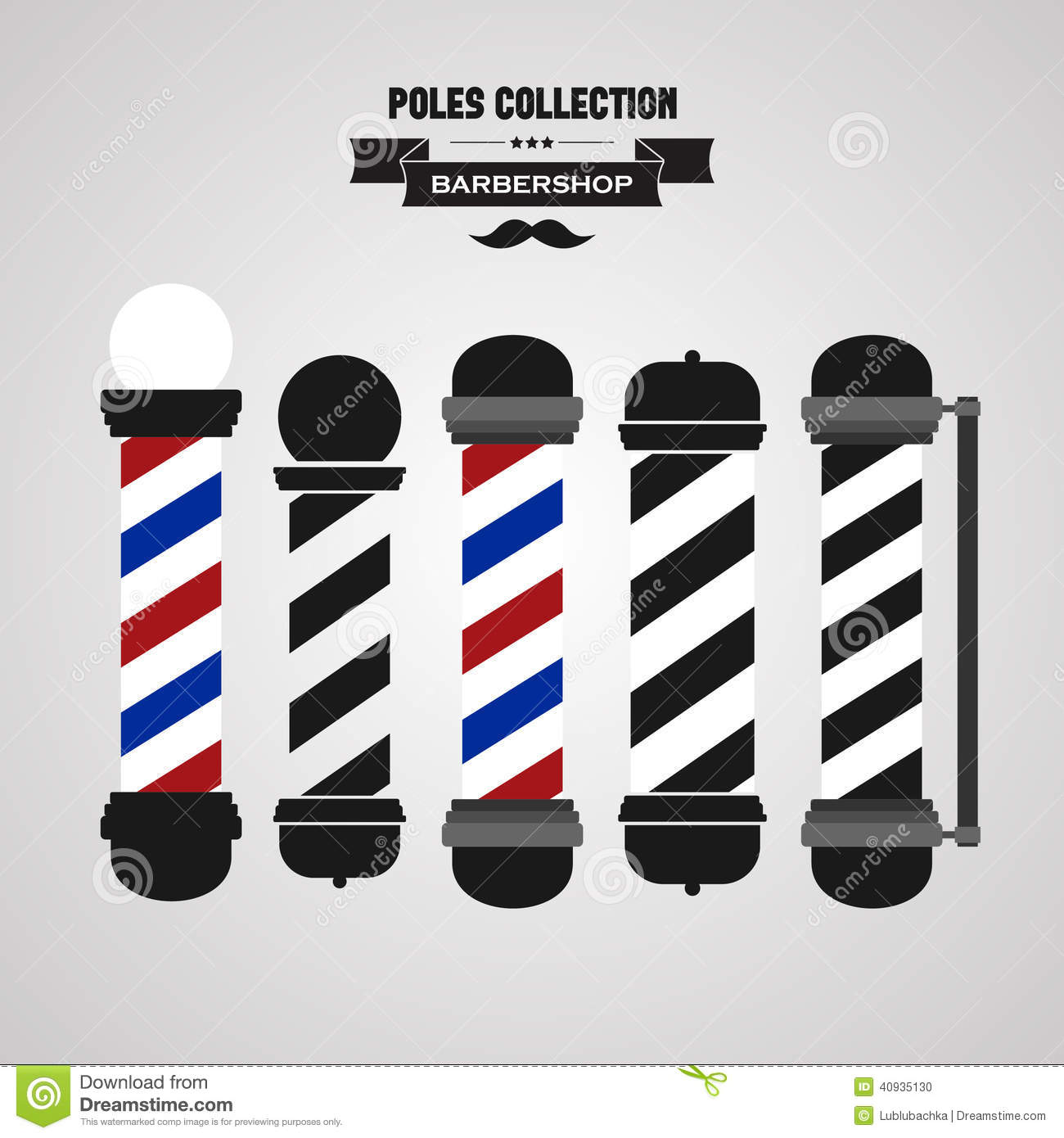 Antique barber shop sign - Barber Shop Vintage Pole Icons Set Stock Photo
