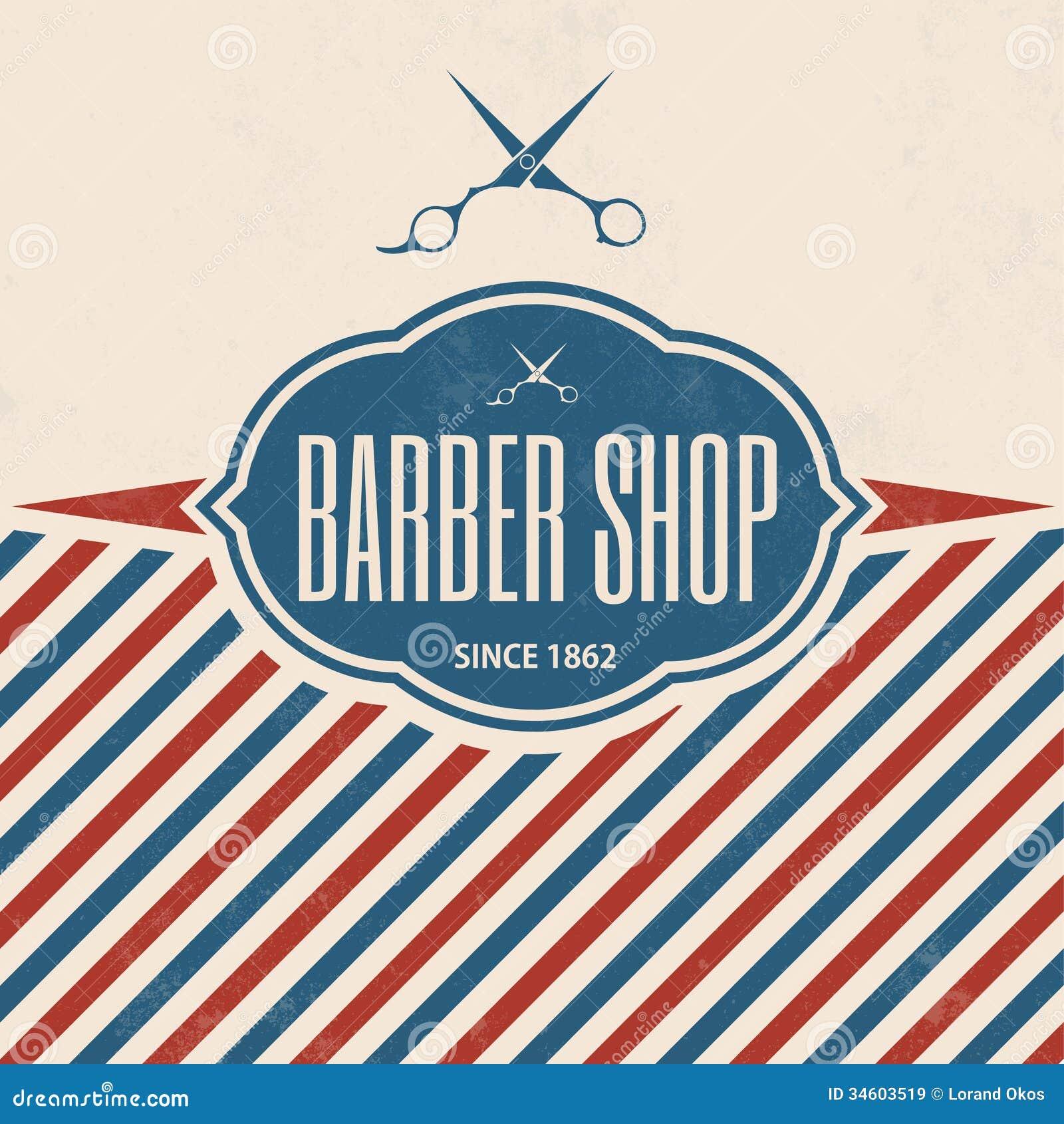 barber shop vintage template retro imagens de stock royalty free imagem 34603519. Black Bedroom Furniture Sets. Home Design Ideas
