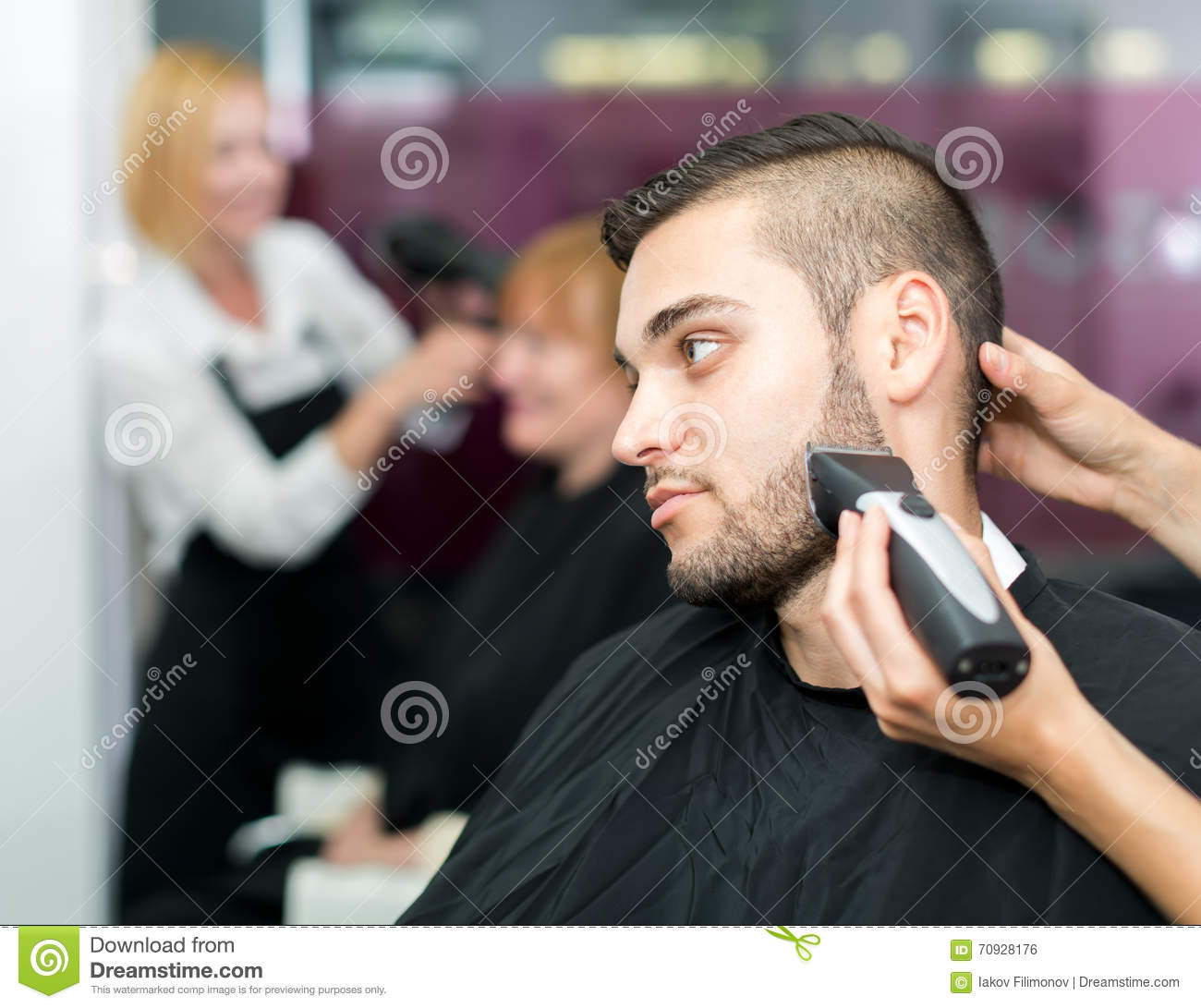Barber Beard Trim : ... barbershop waiting for barber to trim his beard with electric shaver