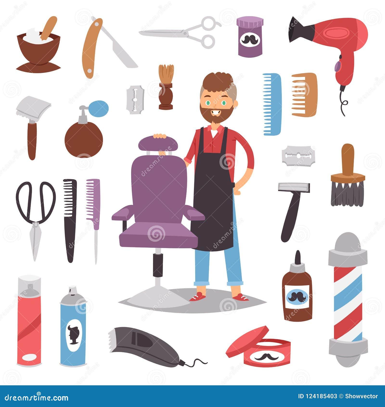 Barberaren för skönhet för hjälpmedel för salongen för frisyr för danande för teckenet för vektorn för mannen för hipsteren för f