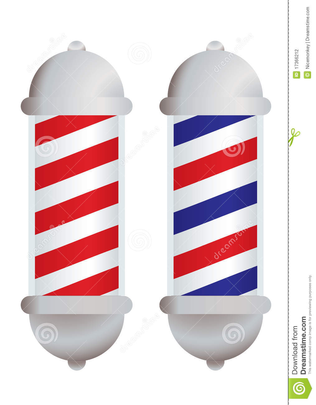 Red and white stripe barbers pole with silver elements.