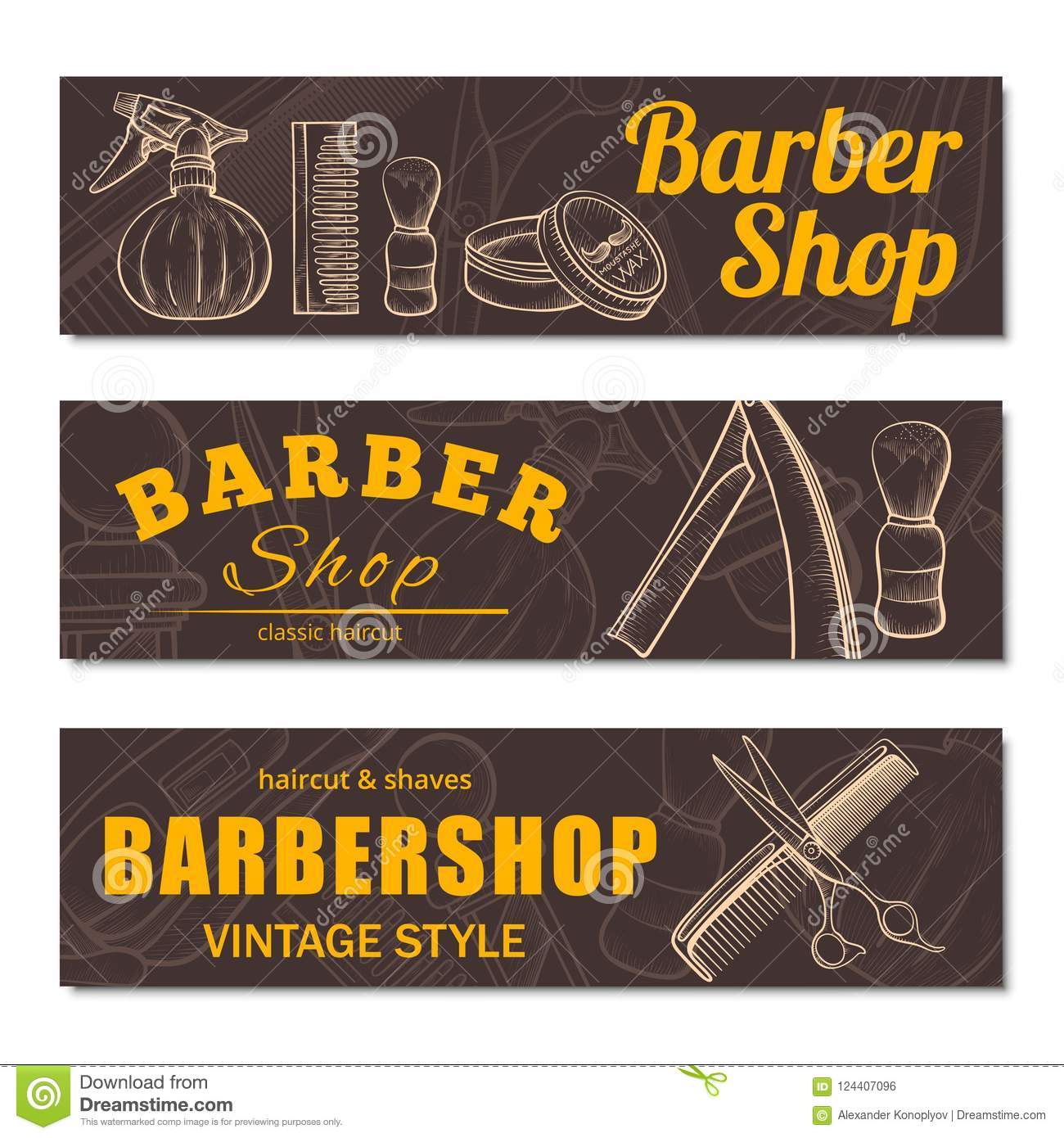 Barbershop Business Banner Set Isolated From Background Stock Vector Illustration Of Badge Classic 124407096