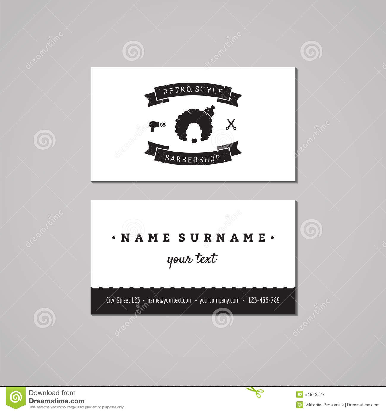Barbershop Business Card Design Concept. Barbershop Logo With Afro ...