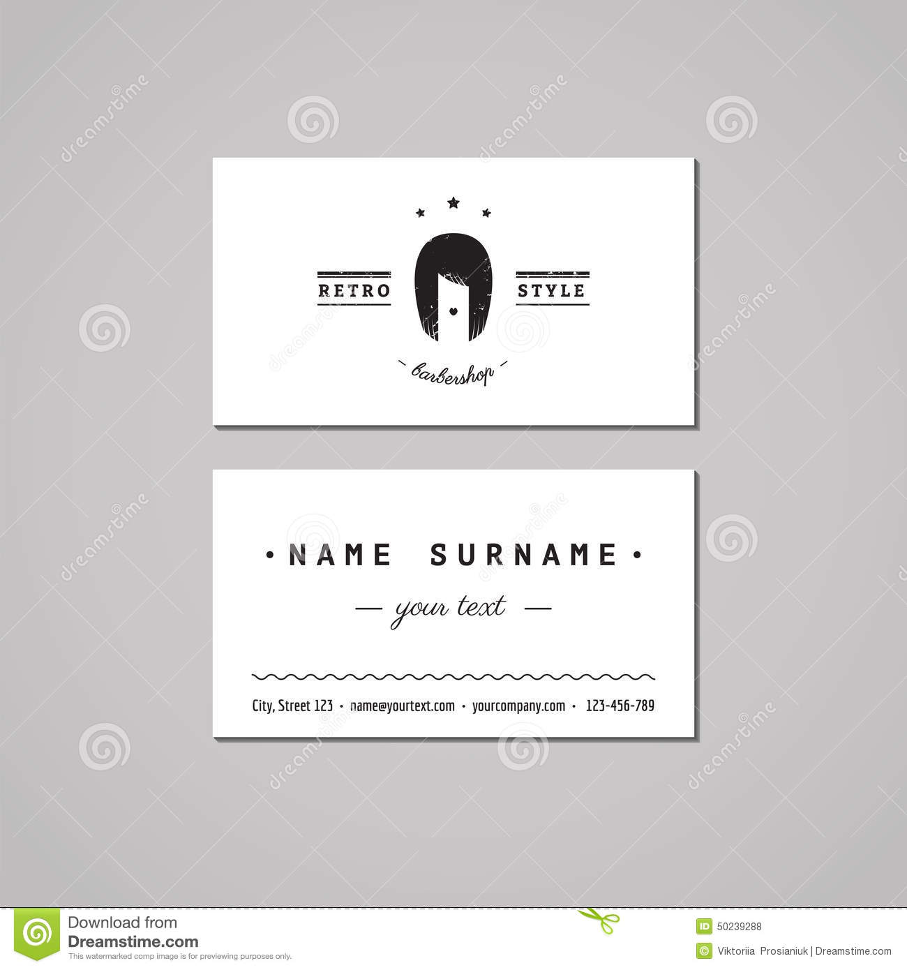 Barbershop Business Card Design Concept. Barbershop Logo With Long ...