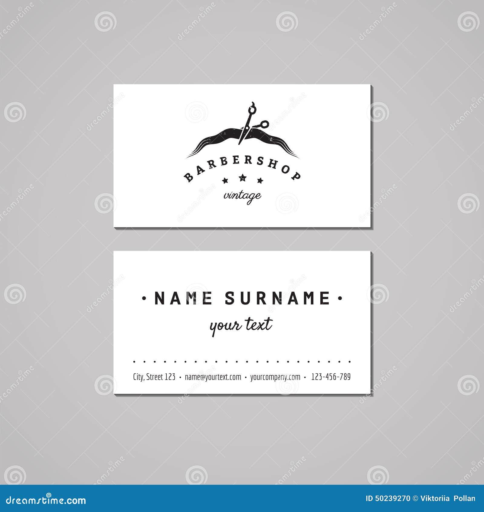 Barbershop Business Card Design Concept. Barbershop Logo With ...
