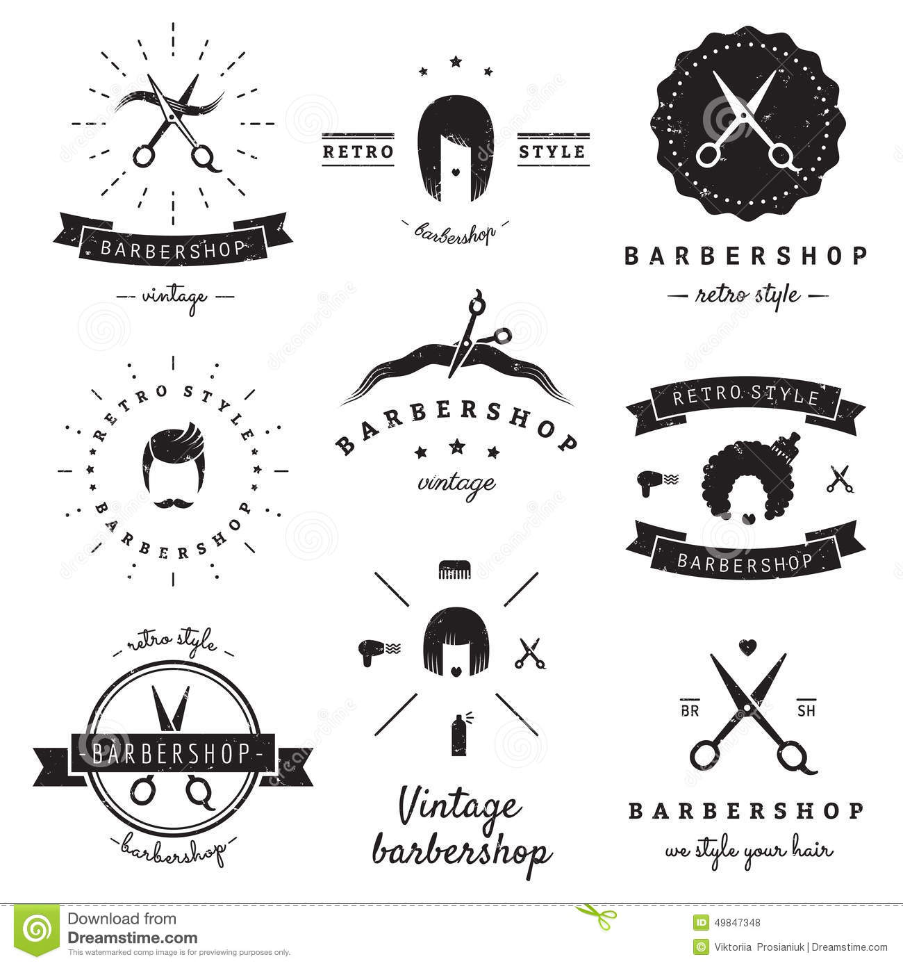 Download Barbershop Hair Salon Logo Vintage Vector Set Hipster And Retro Style