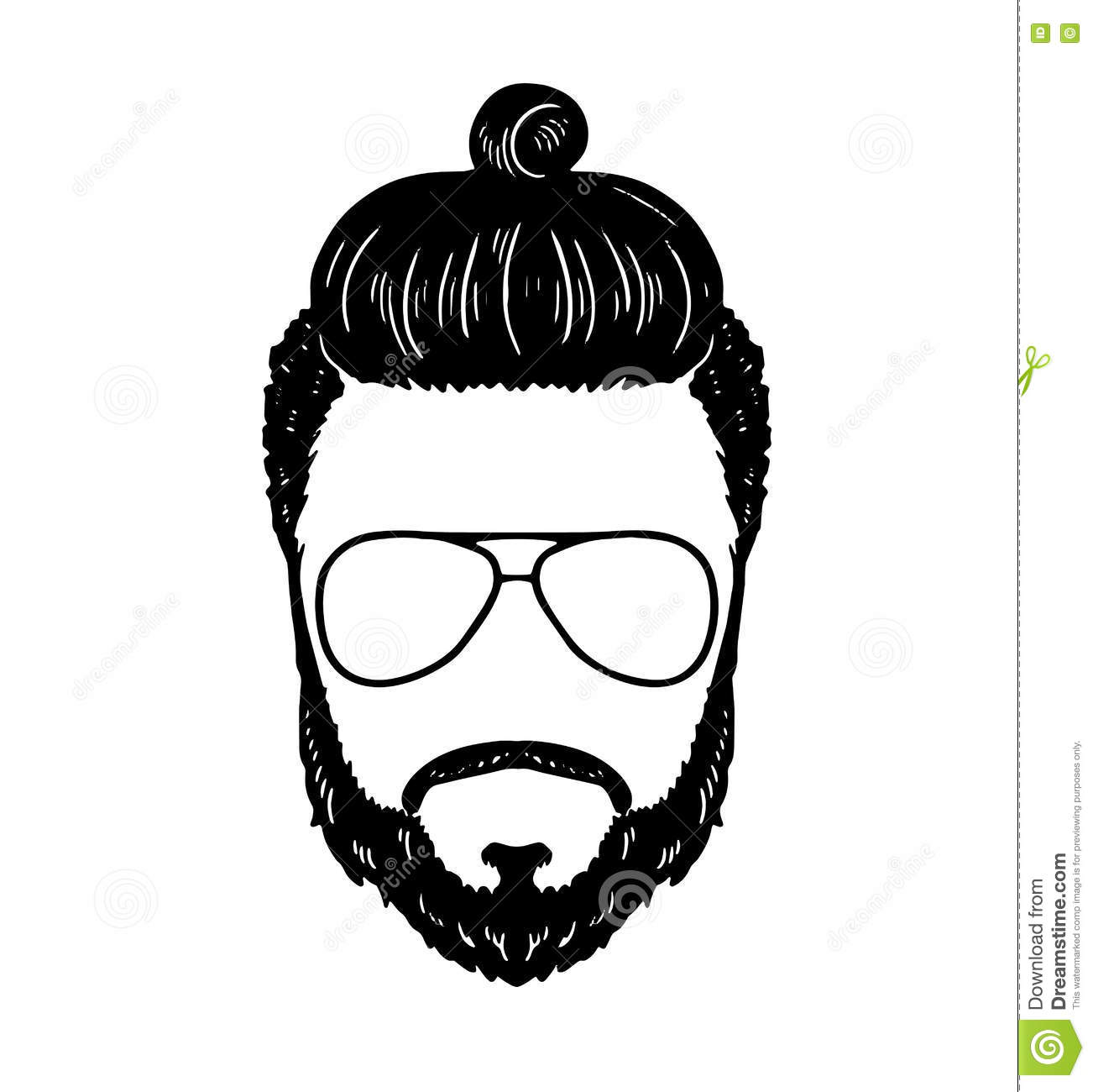 Barbershop Hipster Beard Mustache Glasses Hairstyle Vector Image
