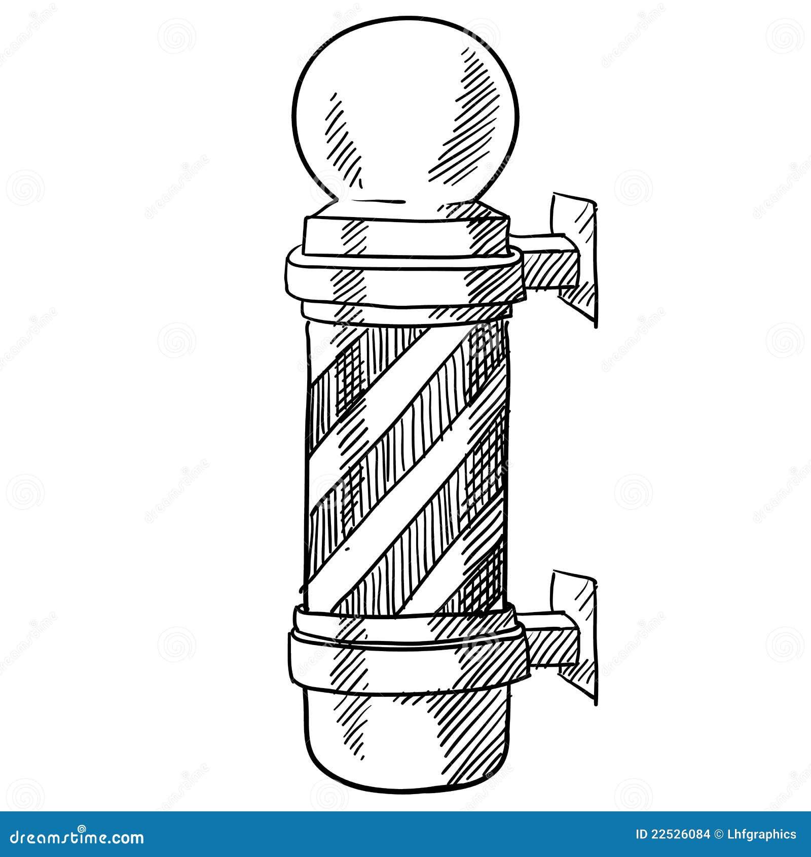 Doodle style striped barbershop pole illustration in vector format