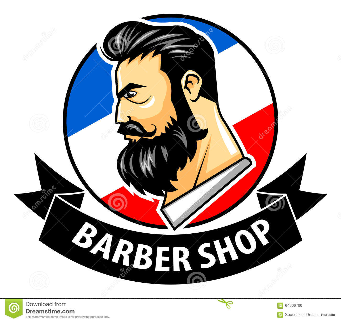 Barbershop With Ribbon Logo Stock Vector Image 64606700