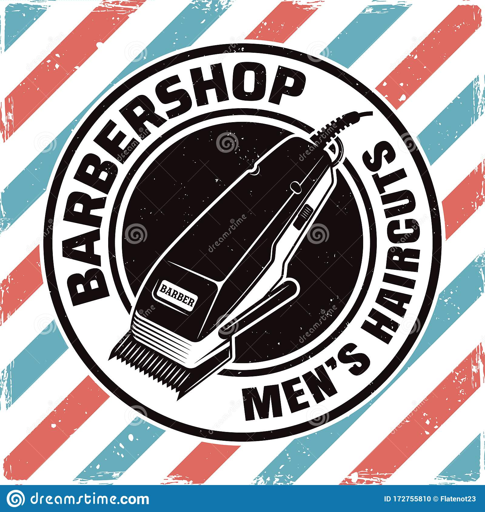 Barbershop Emblem With Electrical Hair Clipper Stock