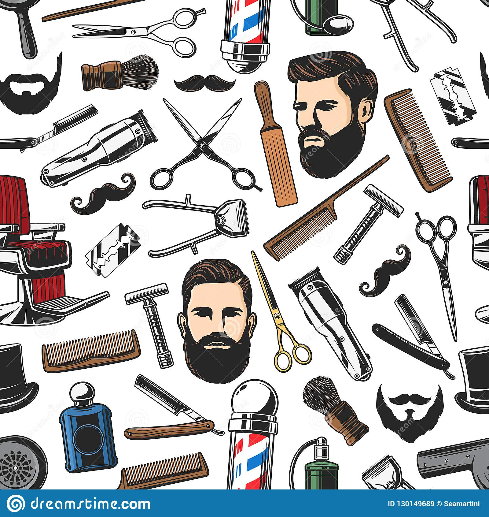 barbershop shave and man haircut seamless pattern stock