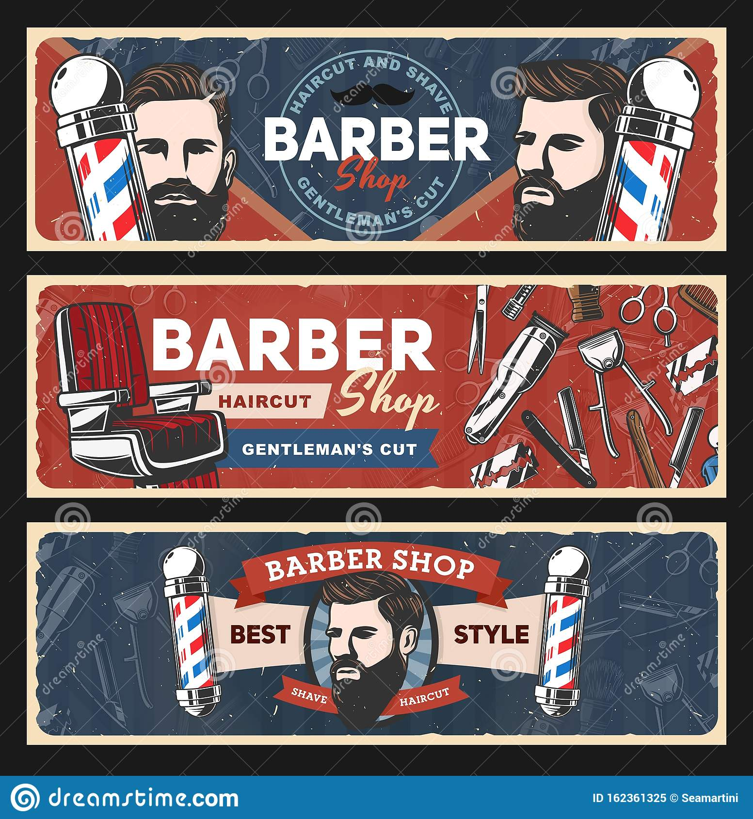 Barbershop Razors Retro Poles Haircut Shavers Stock Vector Illustration Of Salon Brush 162361325