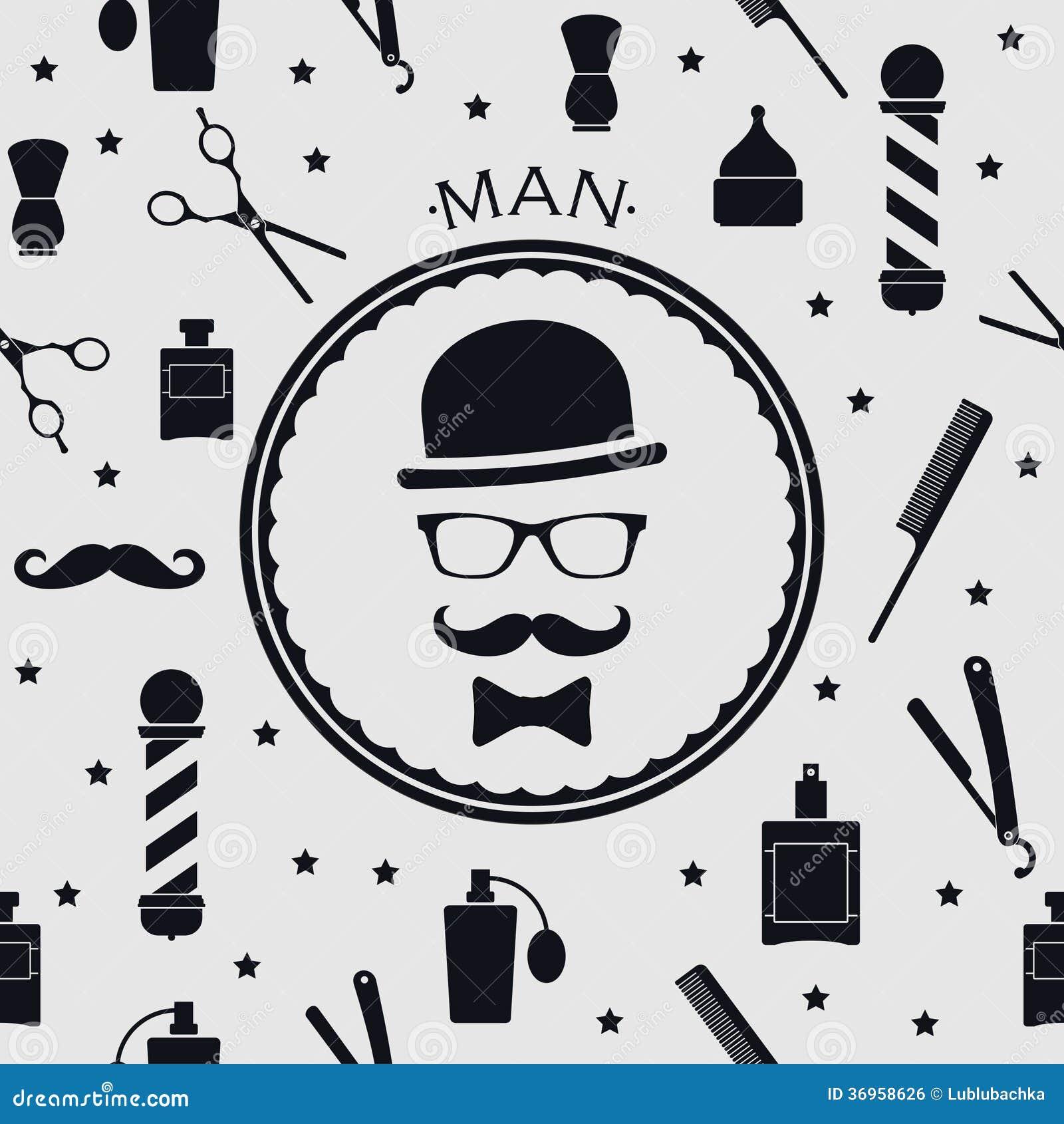 Clip art vector of vintage barber shop logo graphics and icon vector - Background Barber Barbershop Vector Vintage