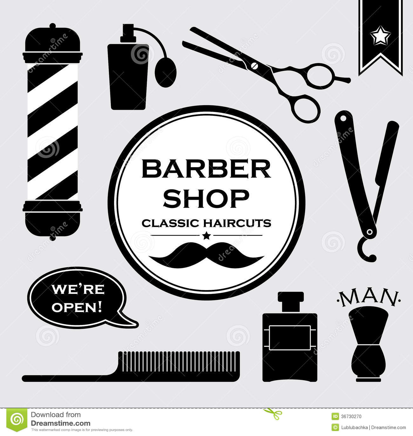 Clip art vector of vintage barber shop logo graphics and icon vector - Barbershop Vintage Symbols In Set Stock Photo Barbershop Set Vector
