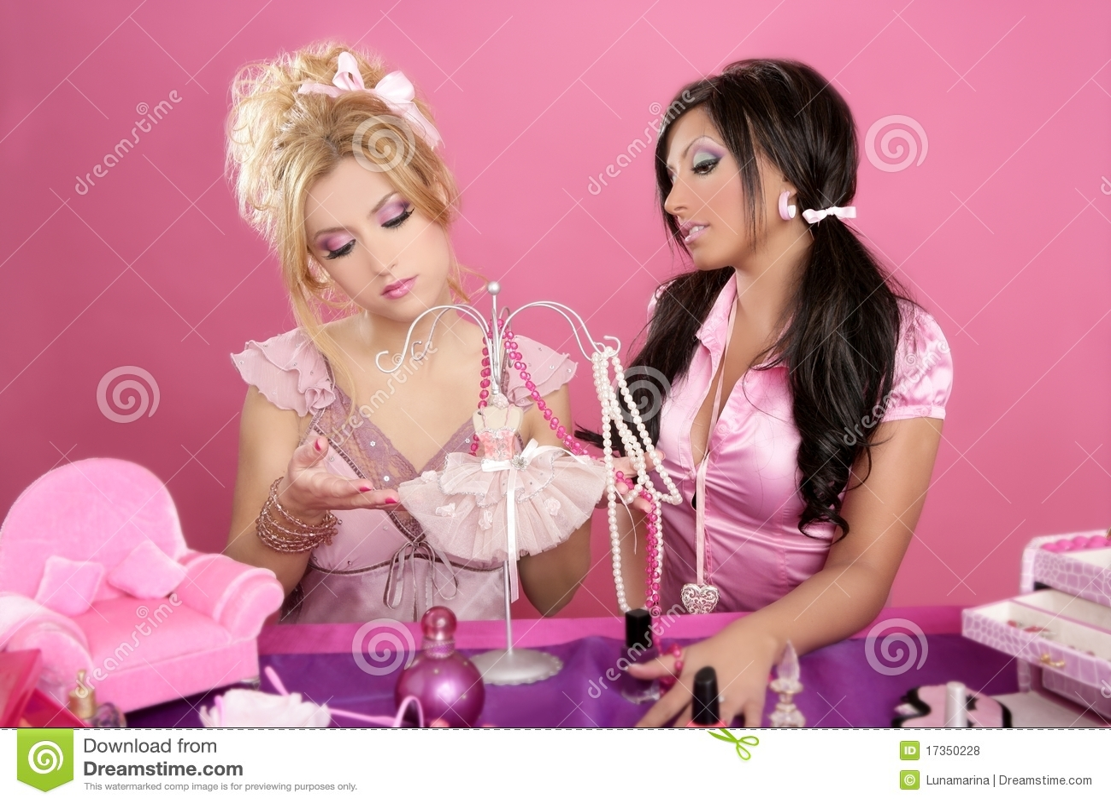 Barbie Doll Girls Pink Vanity Designer Stock Photo Image Of Costume People 17350228