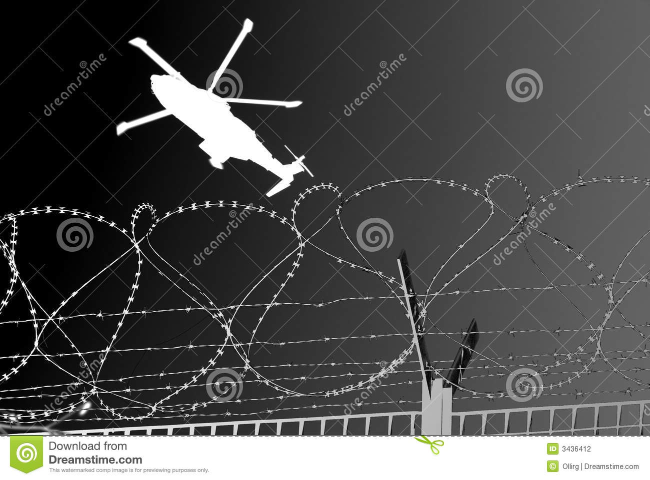 Barbwire military helicopter