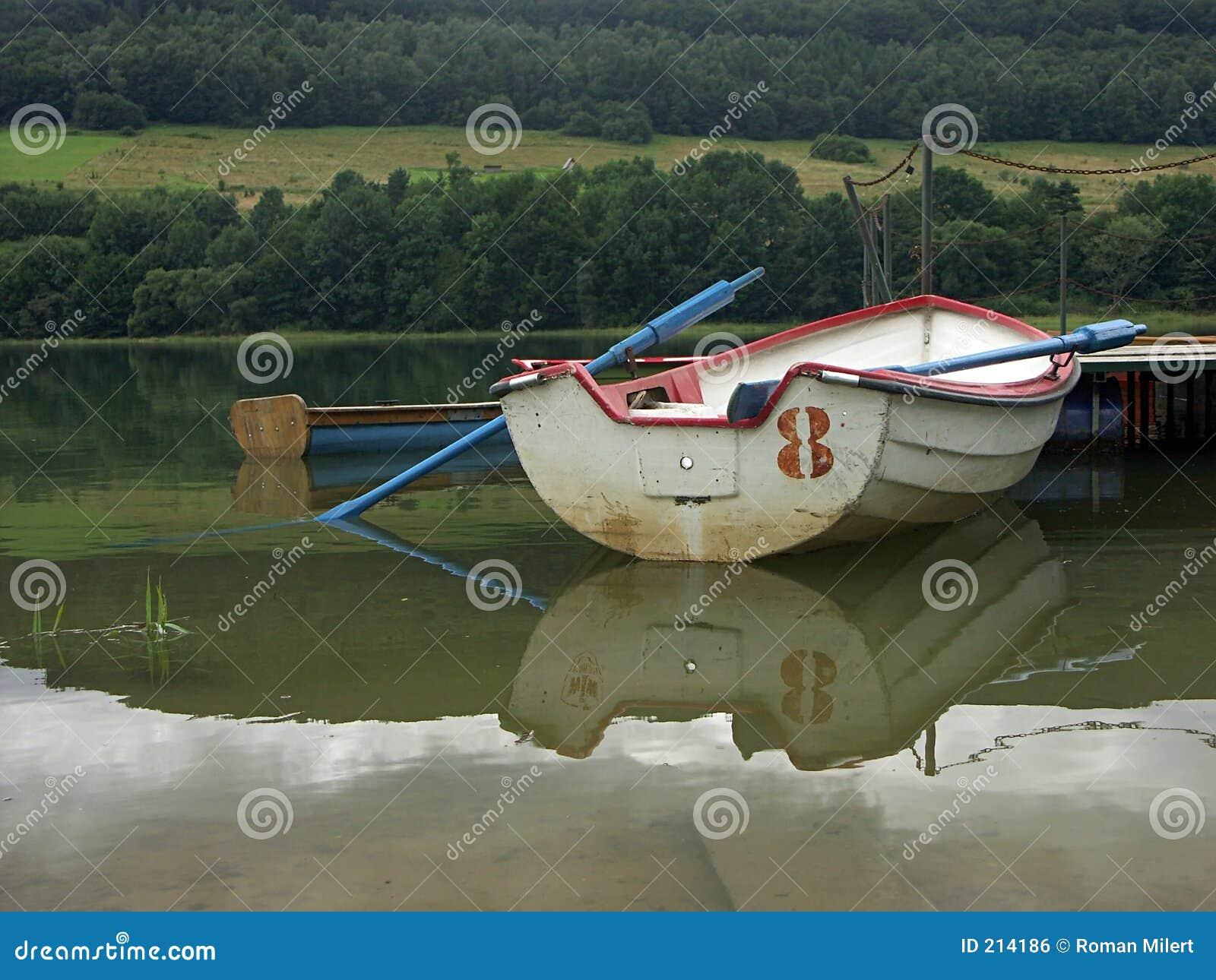 Barca con i remi blu
