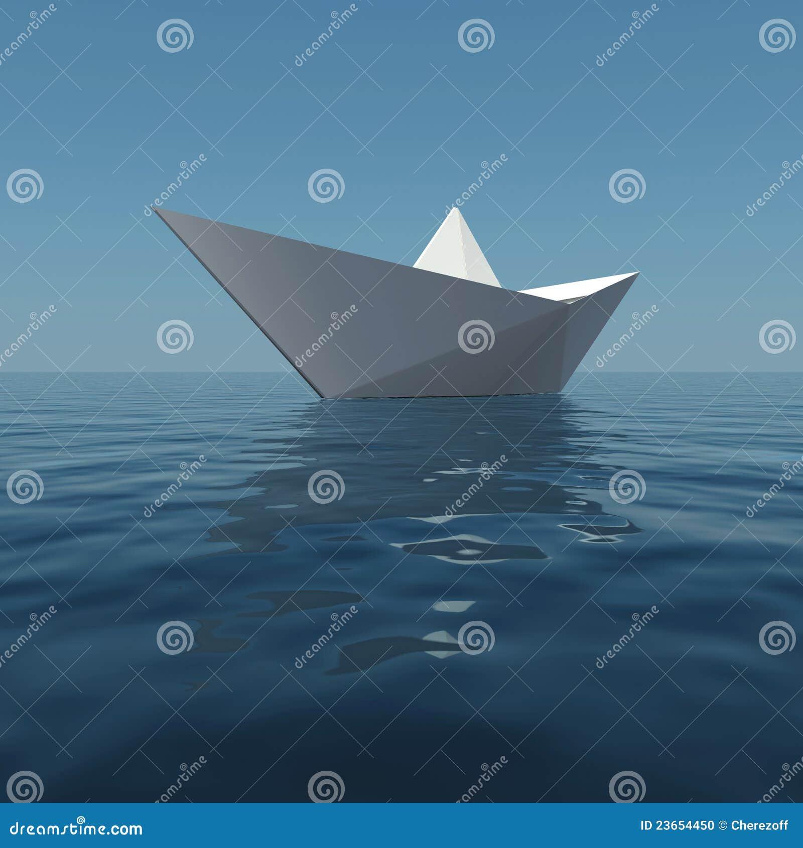 Barca di carta nel mare illustrazione di stock. Illustrazione di ... a5a32d543894
