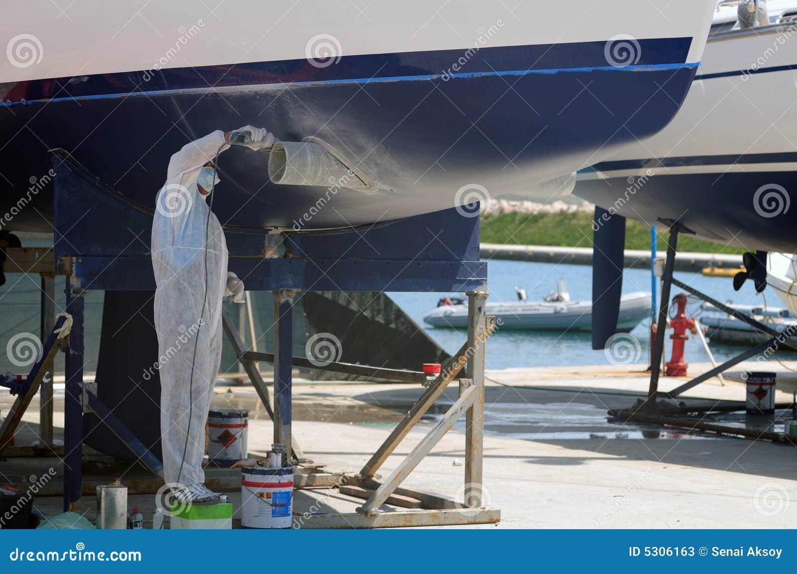 Download Barca nella manutenzione immagine stock. Immagine di sicurezza - 5306163
