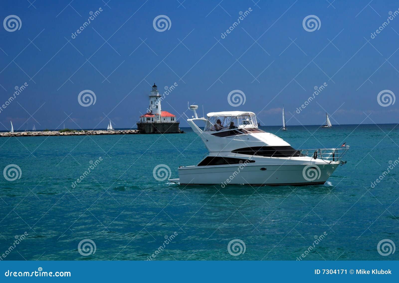 Barca sul lago Michigan