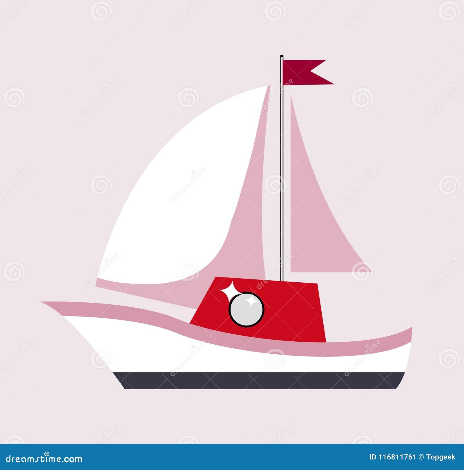 Barca a vela con l illustrazione di vettore del manifesto del regalo della bandiera
