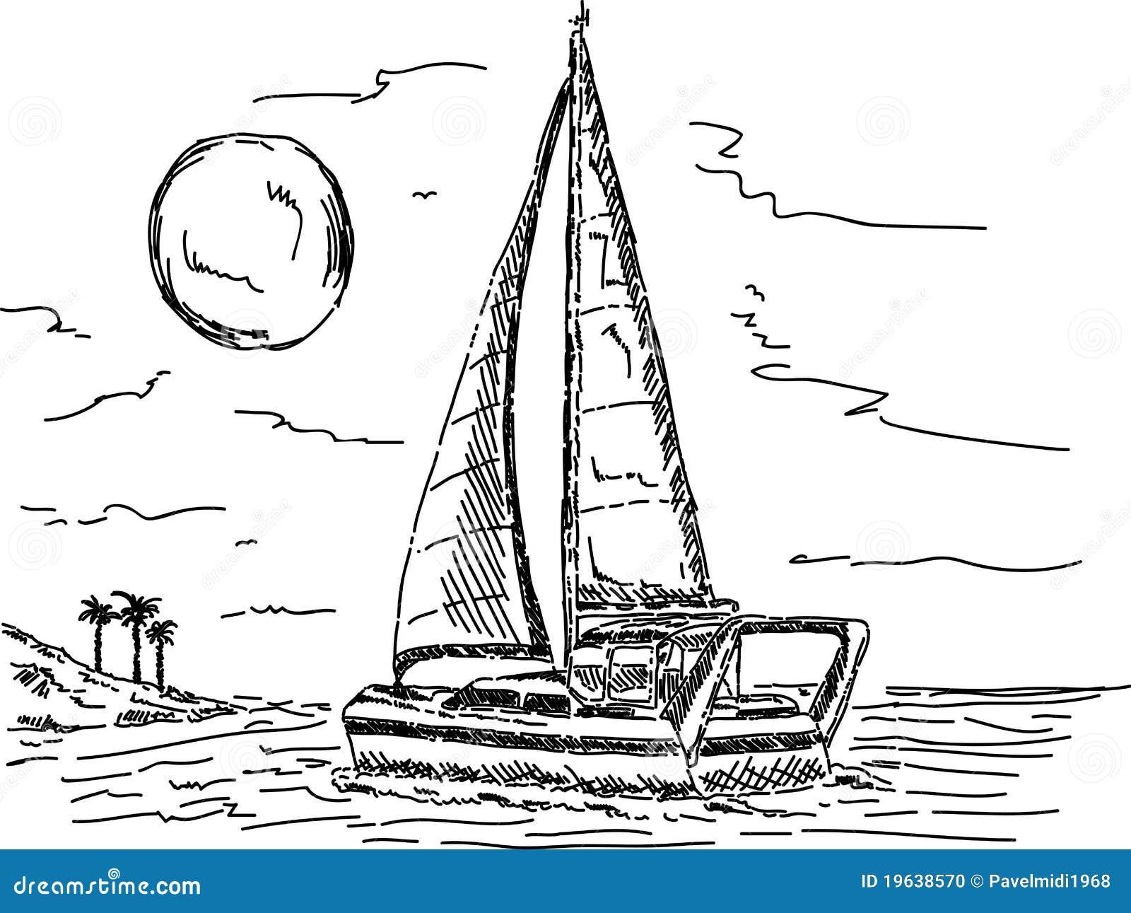 Barca a vela nel tramonto illustrazione vettoriale for Parti di una barca a vela