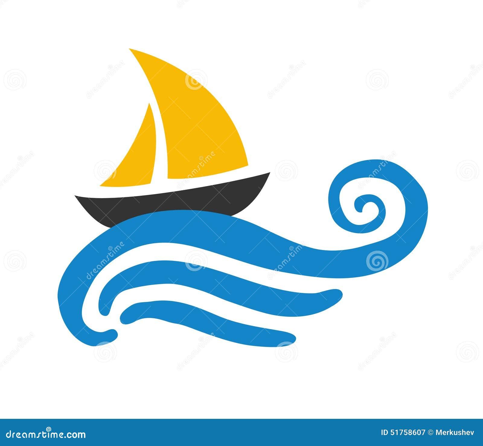 Barca A Vela Sull Acqua Logo Illustrazione Di Stock