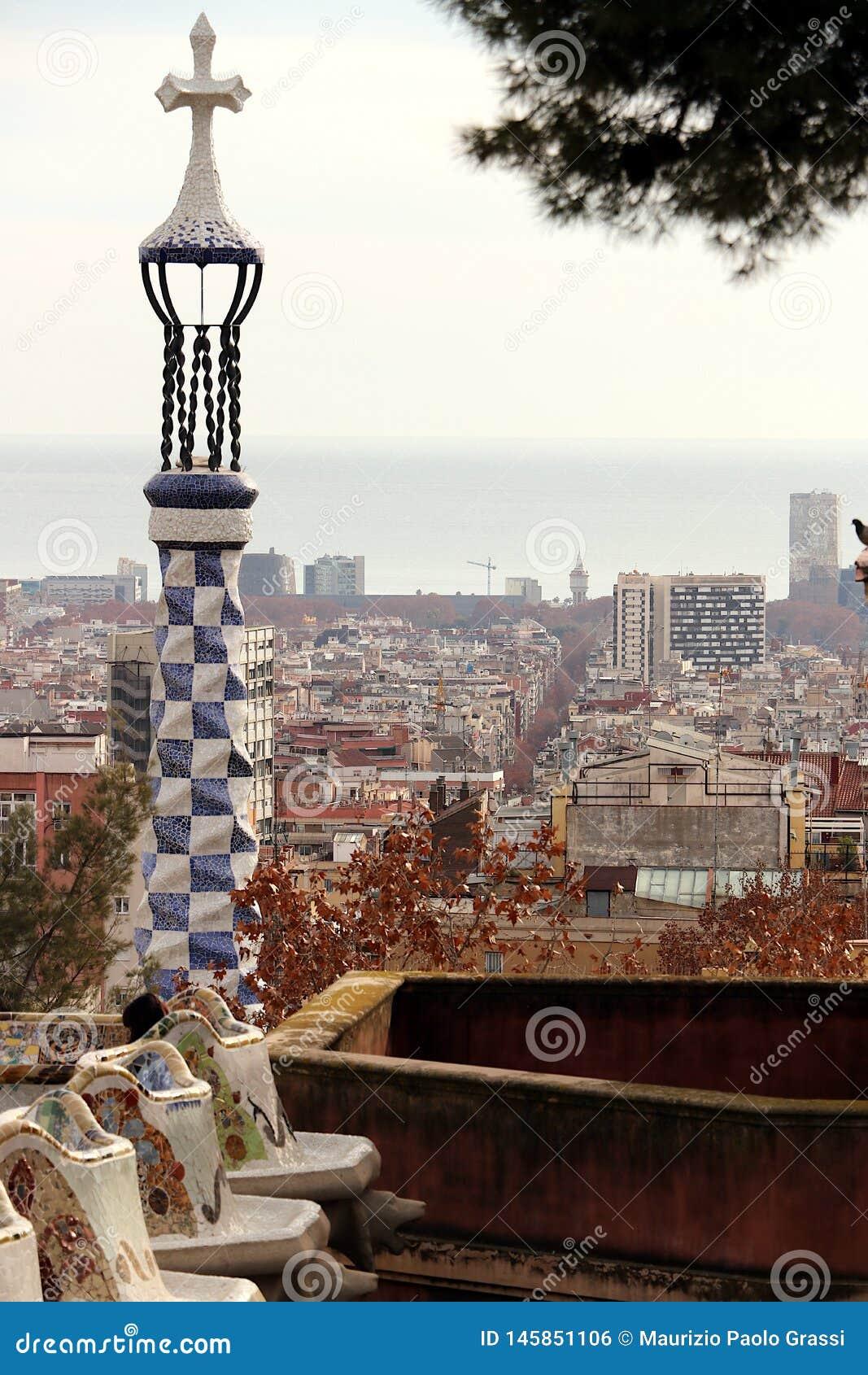 Barcellona 01/02/2016 Terrazzo del parco di Guell progettato dalla formica