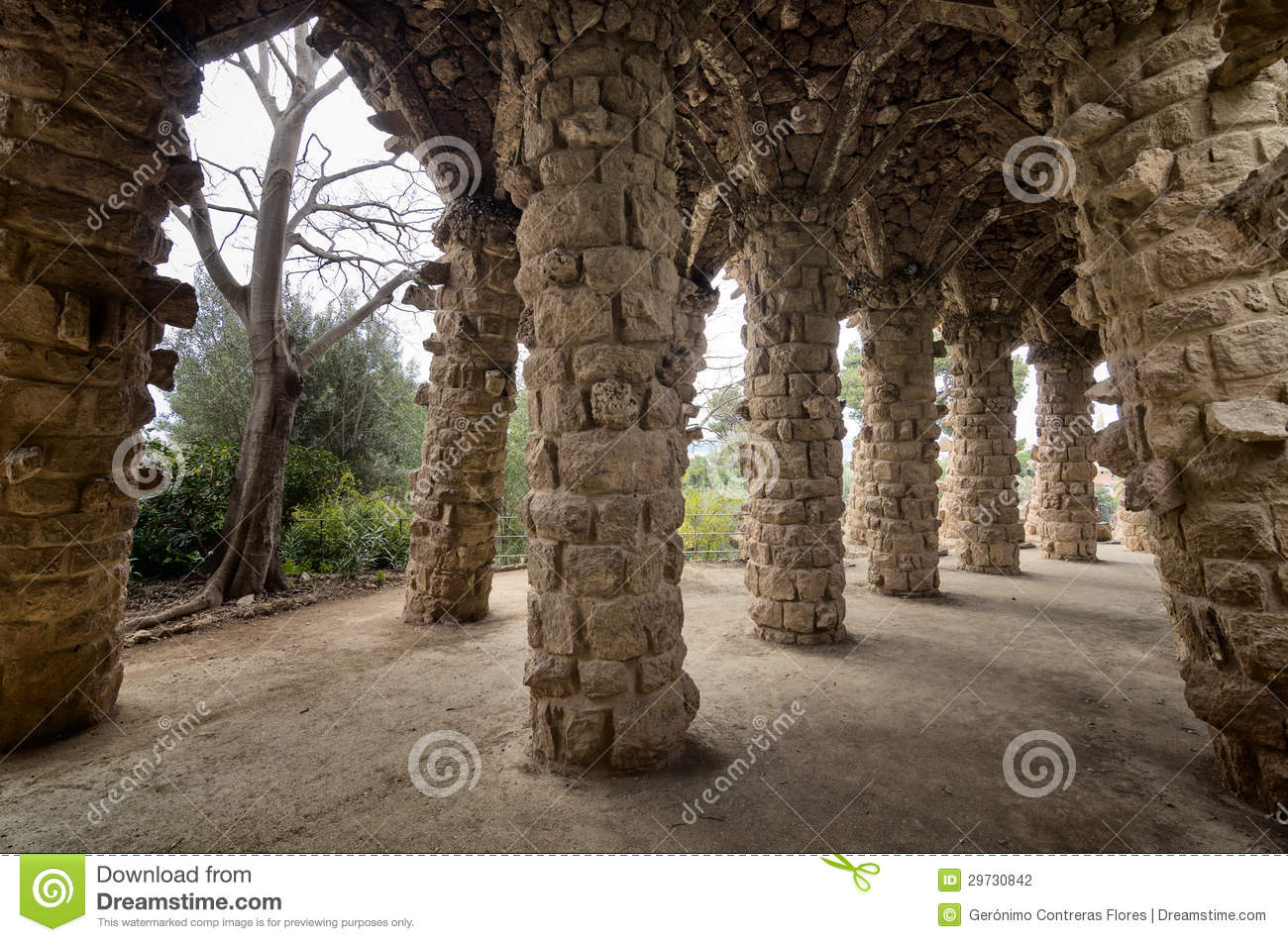 Barcelona Amazing Stone Arches At Park Guell The Famous
