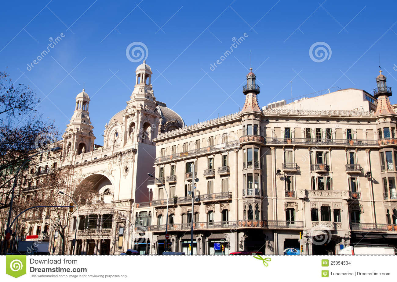 barcelona city buildings gran via and rambla stock photo image 25054534. Black Bedroom Furniture Sets. Home Design Ideas