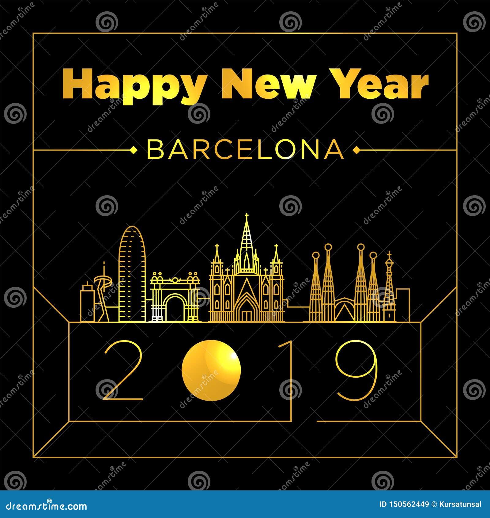 Barcelona City New Year Card Design Template Stock ...