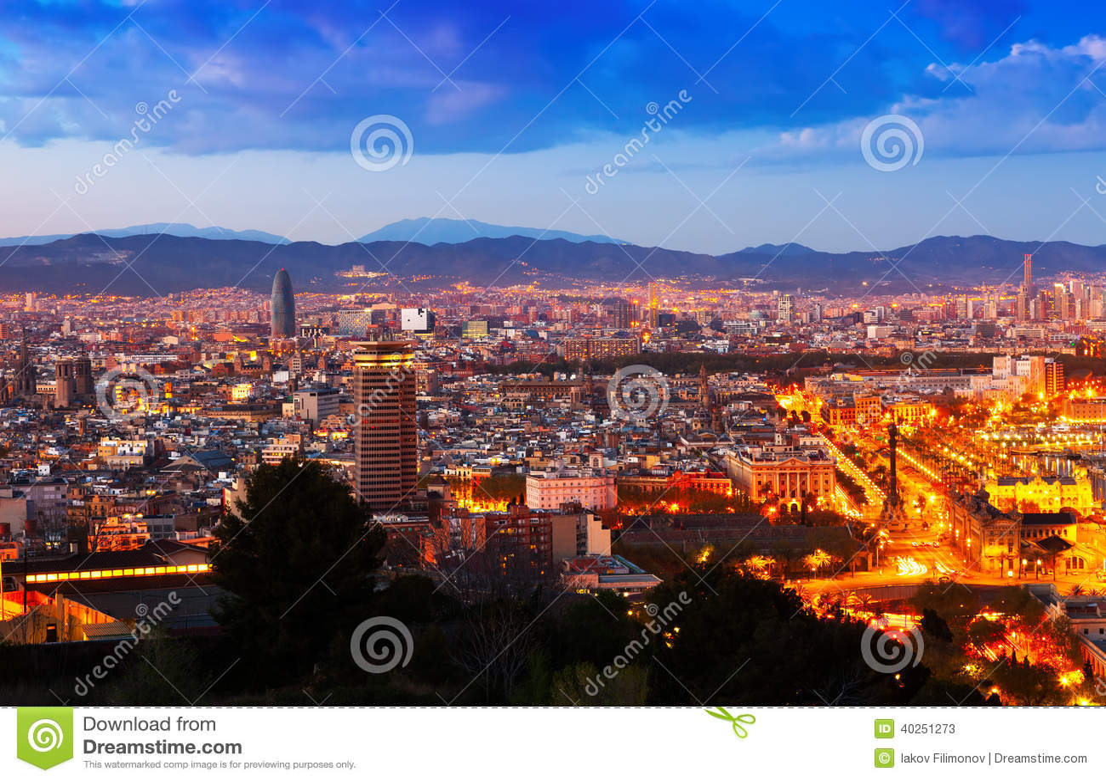 Barcelona city in night stock image. Image of illuminated ...