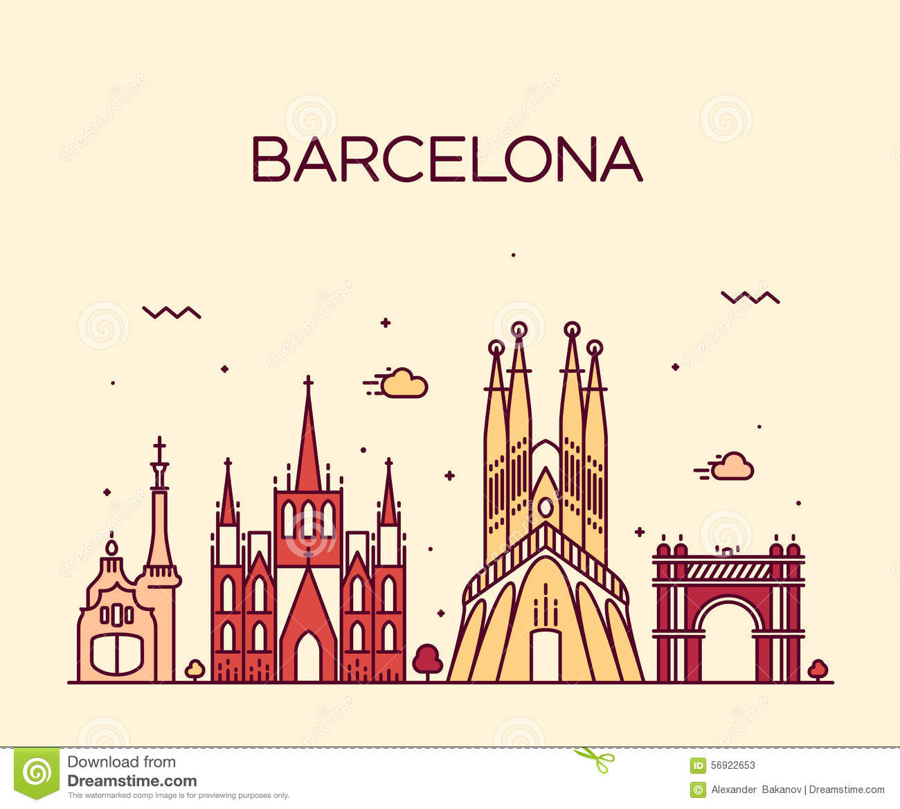 Line Art Illustration Style : Barcelona city skyline trendy vector line art stock