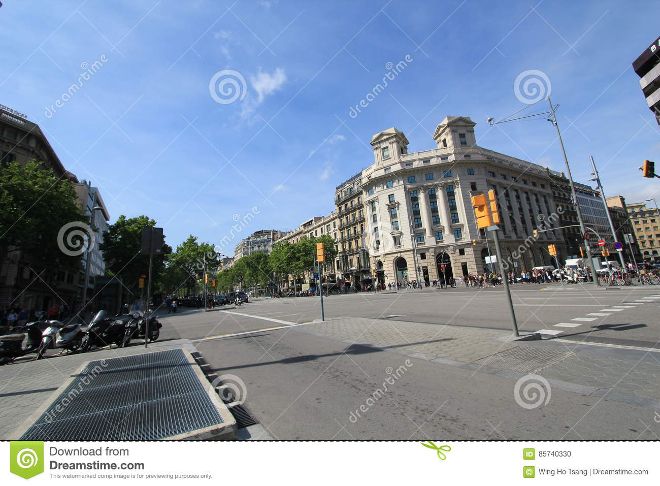 Barcelona city street view editorial image. Image of ...