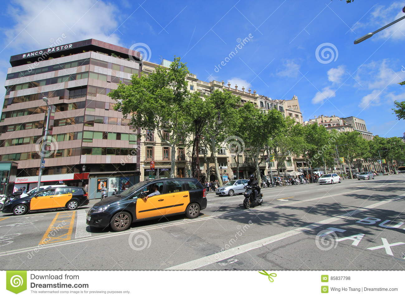 Barcelona city street view editorial stock photo. Image of ...