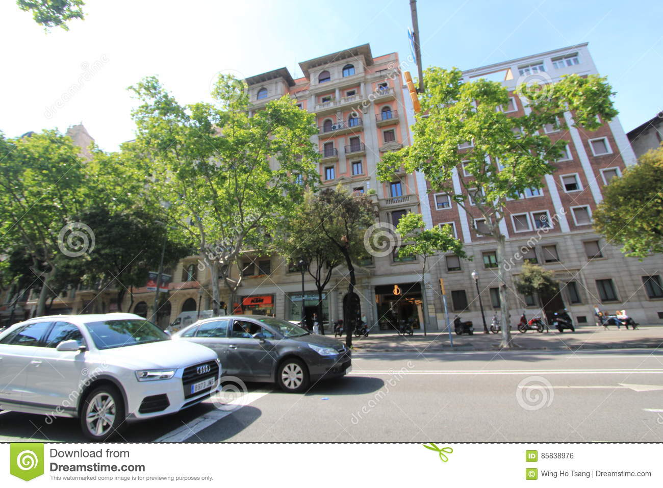 Barcelona city street view editorial photo. Image of ...