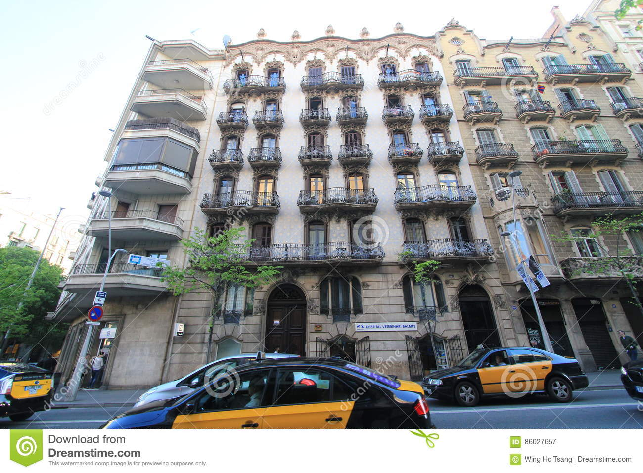 Barcelona city street view editorial photography. Image of ...