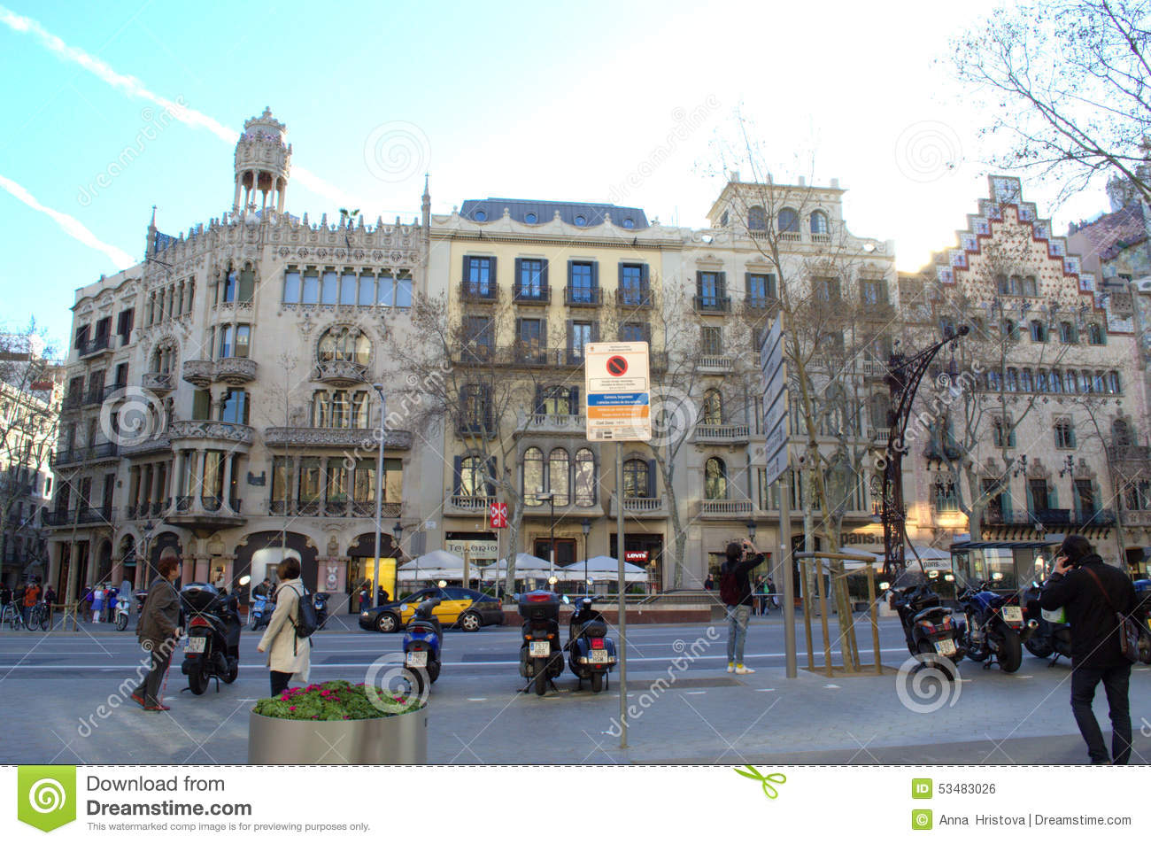 Barcelona city streets editorial photo. Image of ...