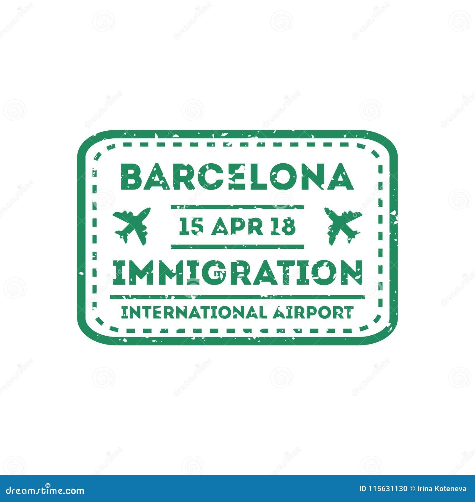 Barcelona City Visa Stamp On Passport Stock Vector Illustration