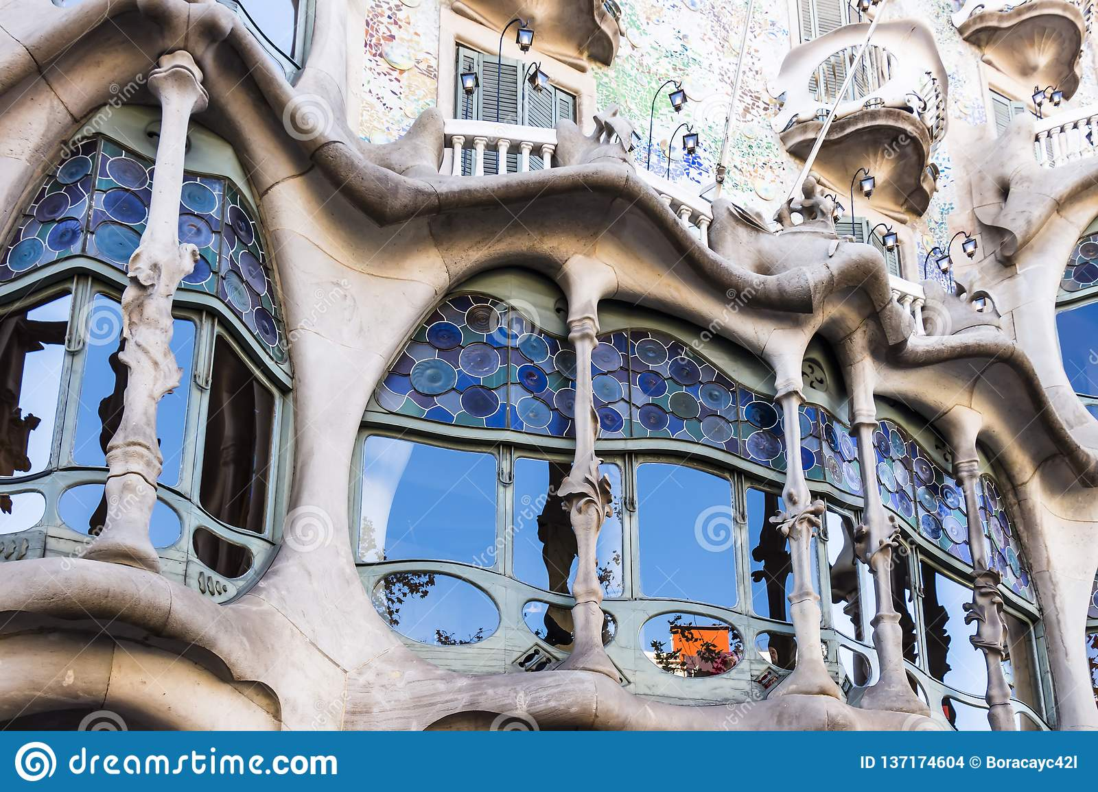 Stained glass windows of the lower floors of Casa Batllo
