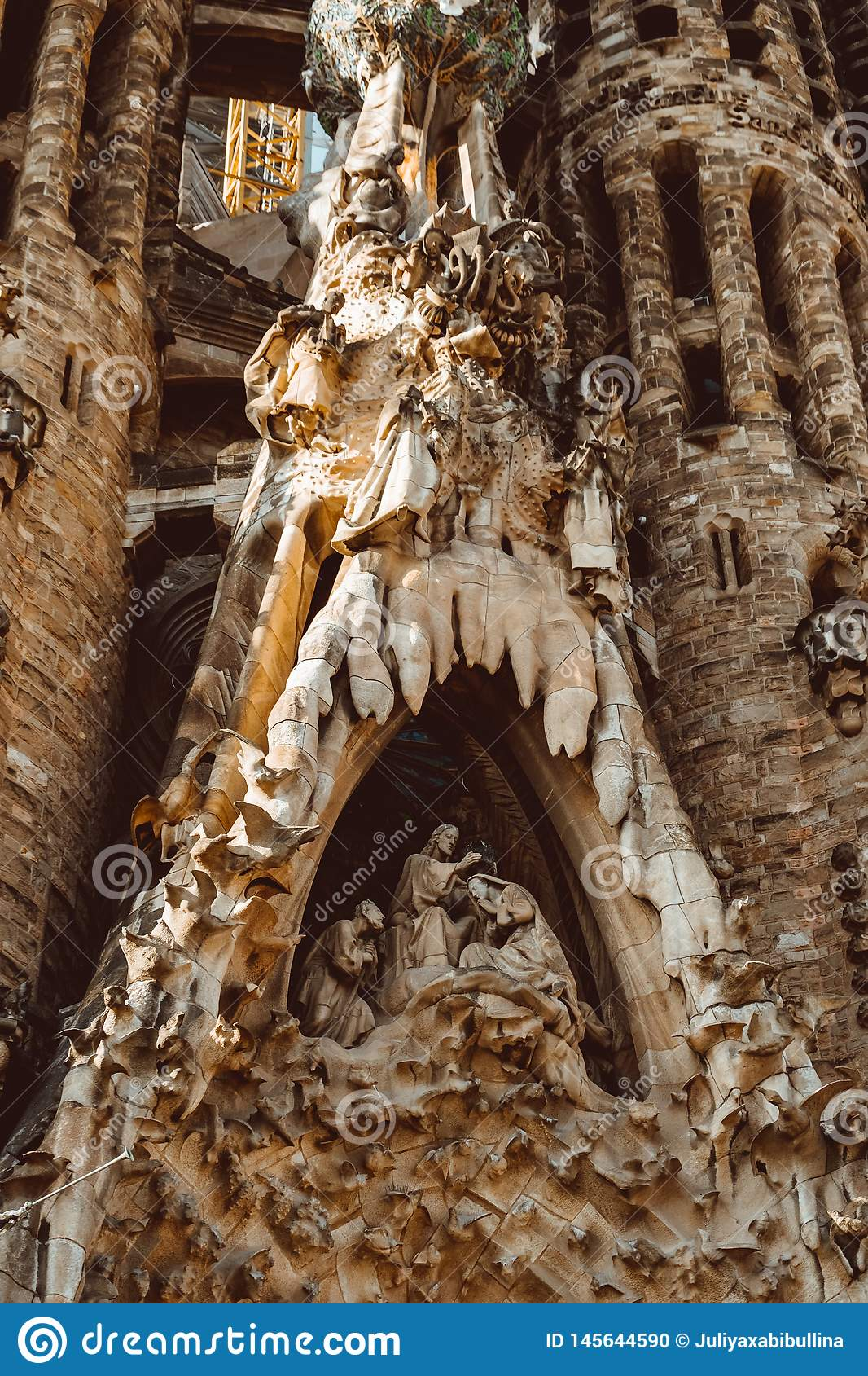BARCELONA - AUGUST 9: The Nativity Facade of the Sagrada Familia, the most iconic landmark