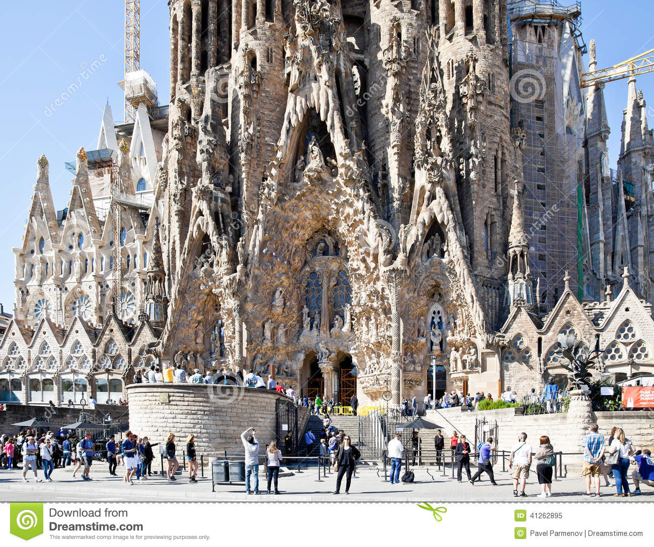 Barcelona fragment of temple of sagrada familia facade of nativity editorial image image of - Architekt barcelona ...