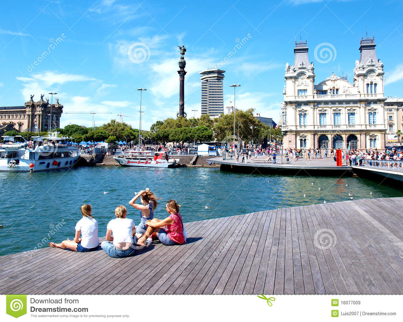 Download Barcelona harbour editorial stock image. Image of cathedrals - 16077009
