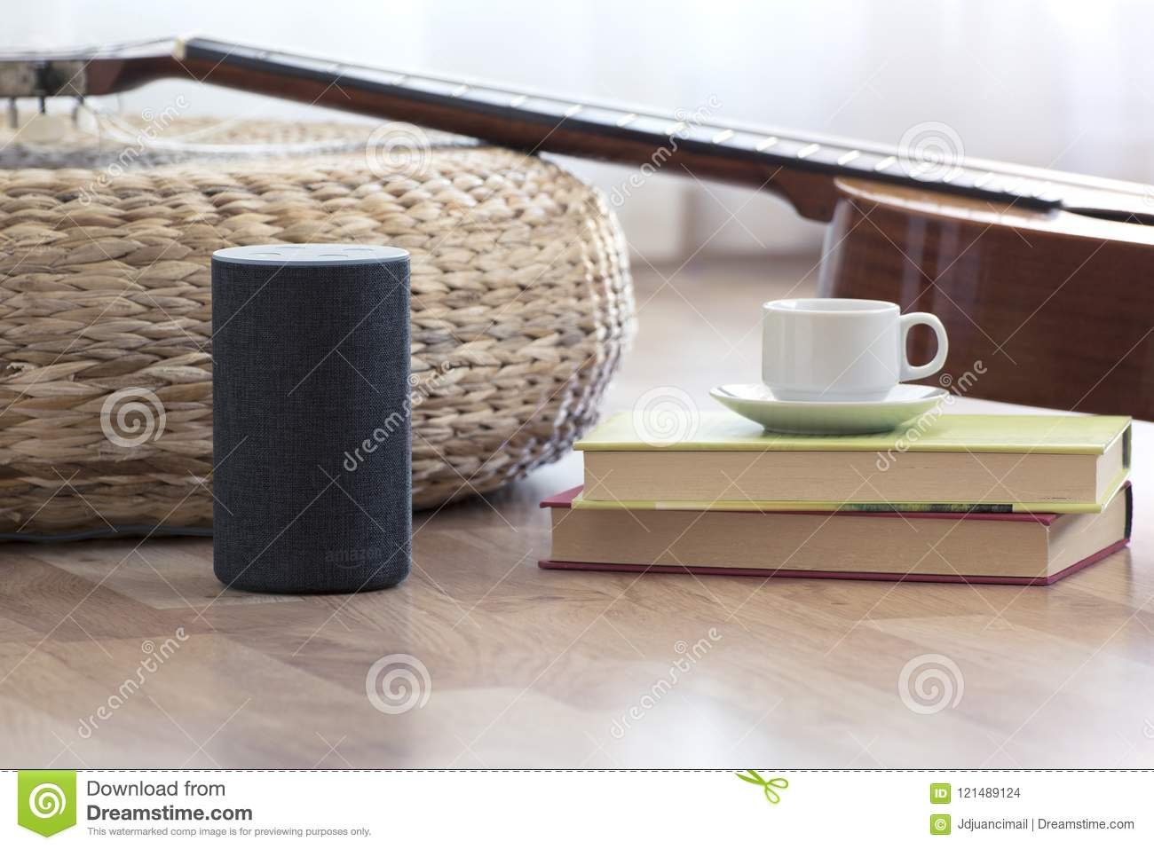 BARCELONA - JULY 2018: Amazon Echo Smart Home Alexa Voice Service in a living room on July 17, 2018