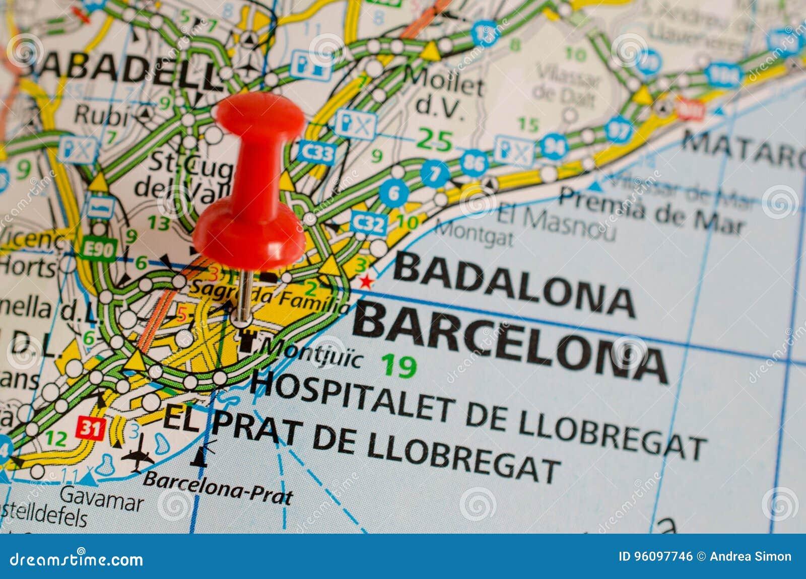Barcelona on map stock photo Image of spain montjuic 96097746