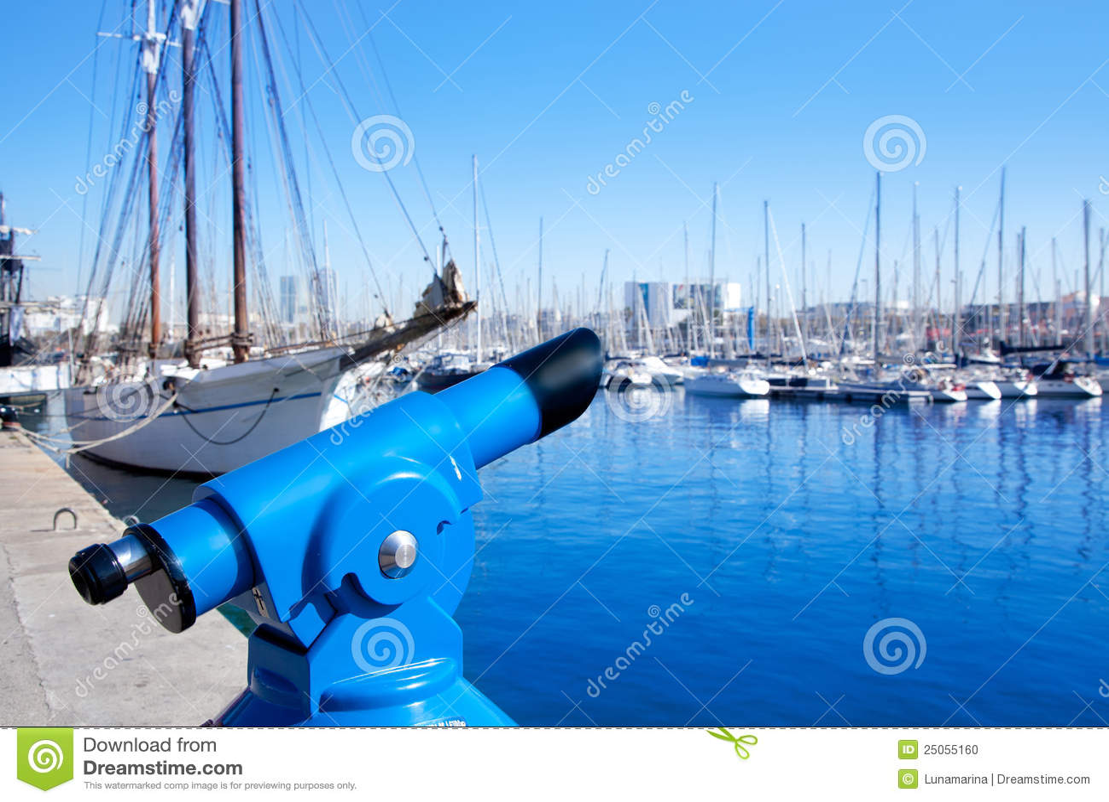 Barcelona port marina with blue telescope
