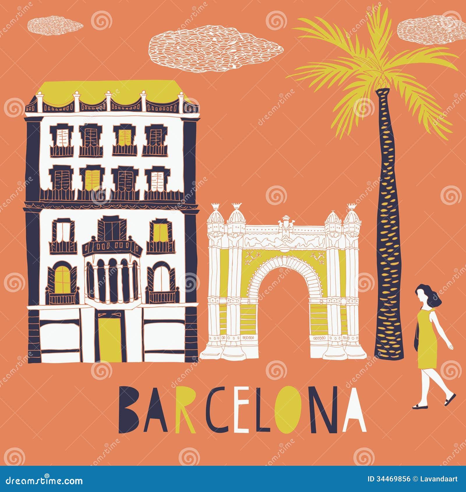 barcelona  print design royalty free stock image