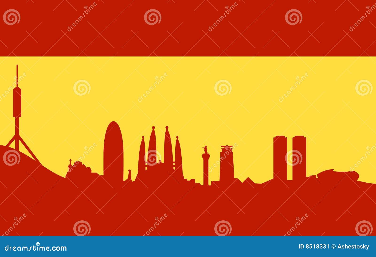 Paella on white vector stock vector image 68986544 - Barcelona Skyline Auf Spanischer Markierungsfahne Stockbild
