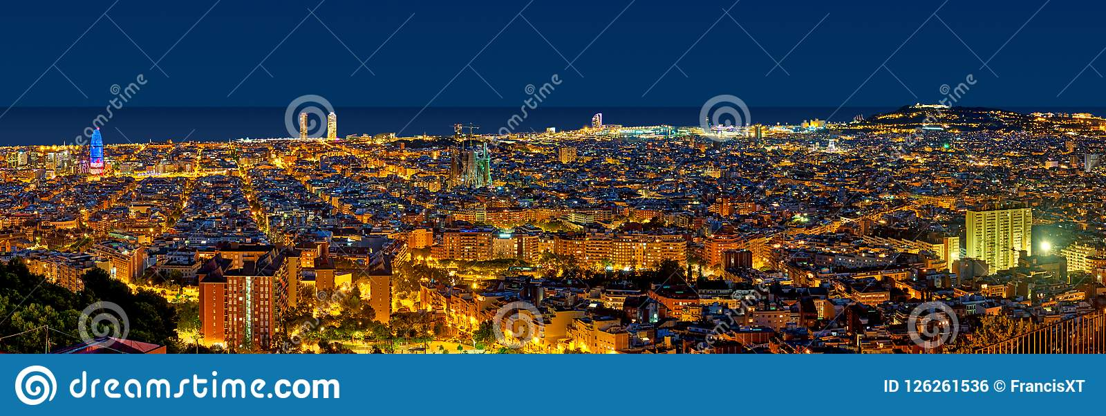 Barcelona skyline at night looking towards the sea