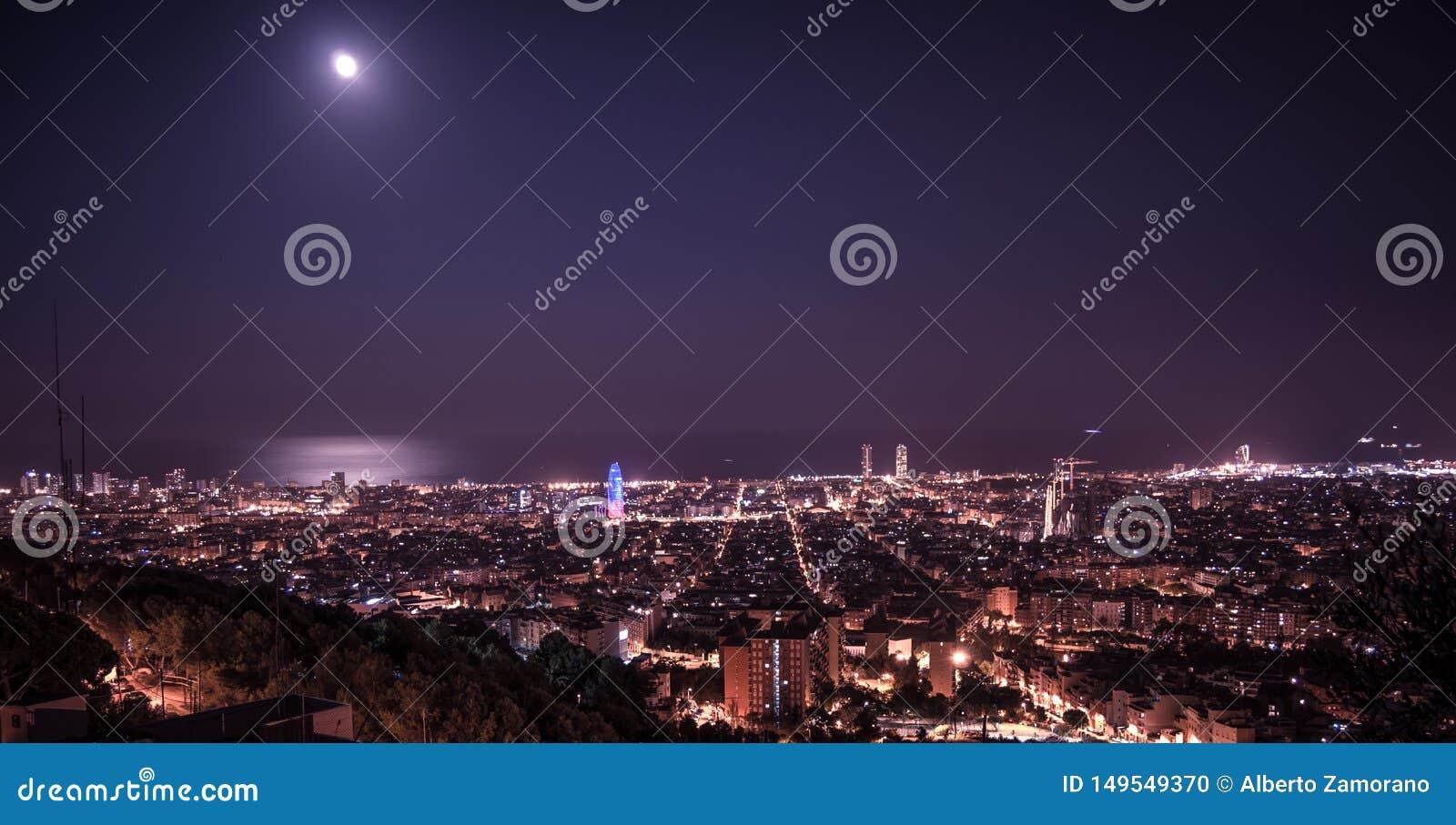 Barcelona skyline panorama at night from Turo Rovira, Catalonia, Spain